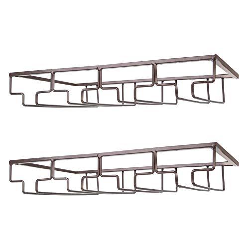 Wine Glass Rack - Under Cabinet Stemware Wine Glass Holder Glasses Storage Hanger 2 Pack Metal Organizer for Bar Kitchen 4 Rows Brown