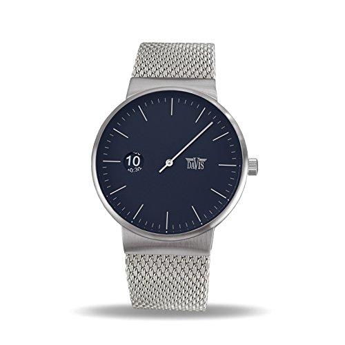 Davis - Herren Einzeigeruhr Design Regulator Mesh Armband (Blau)