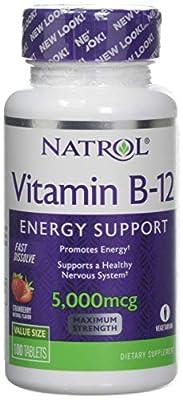 Natrol Vitamin B-12 Fast Dissolve, Strawberry Flavour, 5000mcg, 100 Tablets by Natrol