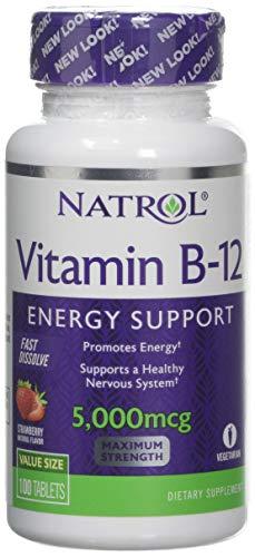 Natrol Vitamin B12 5000mcg Fast Dissolve (100) Strawberry, 100 Tablet