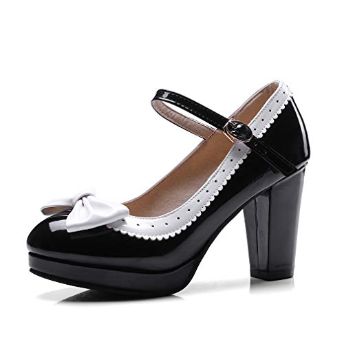 HILIB Woman's high Heel Lolita Shoes Cute Bowknot Mary Jane Shoes Black 9