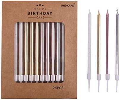PHDCAKE 24 Count Long Birthday Candles in Holders in Gold Silver Rose Gold White product image