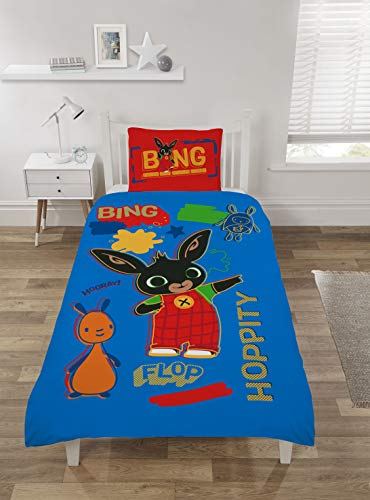 Coco Moon Bing Bunny Rebel Rules Reversible Single Bed Size Duvet Cover and Pillow Set for Kids Ideal Prime Gift