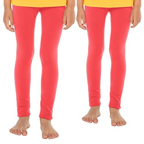 Celodoro Kinder Thermo Leggings (2 Stück) - warme Unterhose lang mit Innenfleece - Lachs 146-152
