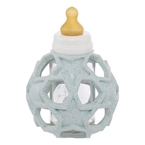 HEVEA Upcycled 2in1 Babyglasflasche mit Star ball abdeckung aus 100% Upcycled Naturkautschuk auf pflanzlicher Basis, kunststofffrei, umweltfreundlich, BPA-frei (Blue)