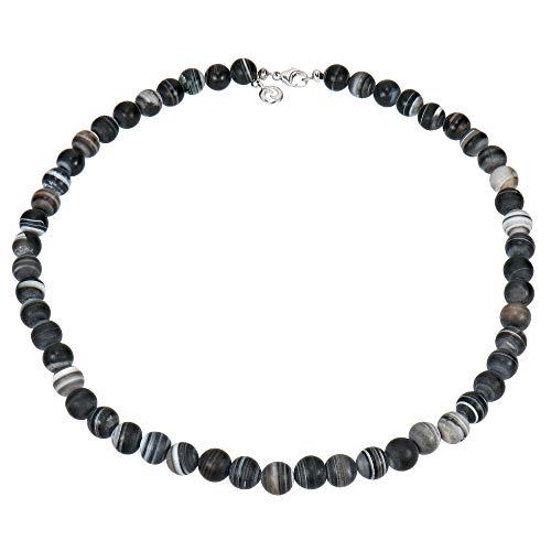 Sogni d'oro Silberzeit Halskette Sterling-Silber 925 rhodiniert Botswana Achat schwarz/grau