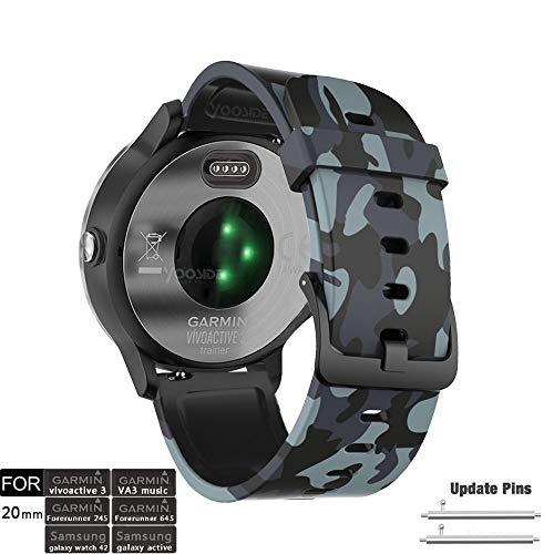 YOOSIDE für Vivoactive 3 Music Armband, 20mm Camo-Muster Silikon wasserdicht Ersatzarmband Uhrenarmband für Garmin Vivoactive 3, Forerunner 645/645 Music,Vivomove HR (Army Grey)