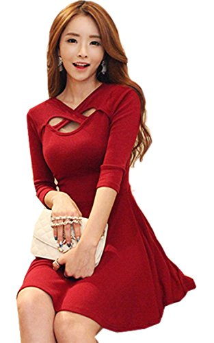FOREVER YUNG A Fashion Hollow V-neck Dress Red S