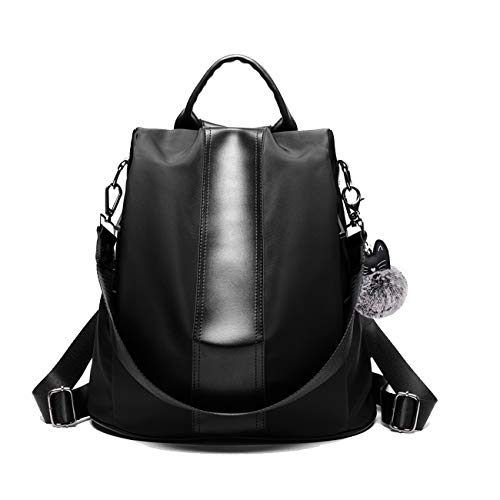 JL&LJ Damen Rucksack Handtasche Leder PU Umhängetasche Backpack Schultertasche Anti Diebstahl Tasche Wasserdichte Nylon Schulrucksack(bk)