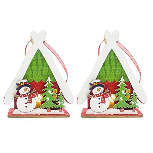 Amosfun 2 Stücke LED Weihnachtsbaum Anhänger Weihnachtshaus DIY Mini Holzhaus zum Bemalen Christbaumanhänger Holz Christbaumschmuck Baumschmuck Weihnachtsschmuck