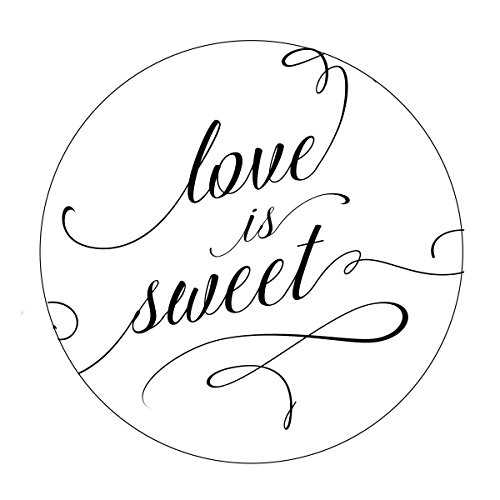 Love is Sweet Favor Stickers, Elegant Wedding Favor Stickers, Swirl Font, Love is Sweet, Labels, Candy Favors, Thank You, Candy Buffet, Candy Bar, Favor Stickers