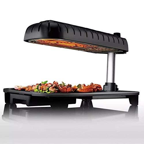 Elektrischer rauchfreier Innen-Antihaft-Grill mit Temperaturregelung,Tisch-Teppanyaki-Grill,elektrische Infrarot-3D-Grillplatte,1390 W,schwarz