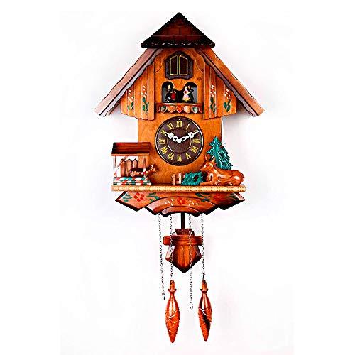 Massief hout Cuckoo Klok, Massief hout Koekoek Klok Zwarte Woud Huis Chalet Muur Pendulum Woonkamer Retro Houten Wandklok voor Kunst Woonkamer Keuken Kantoor Décor