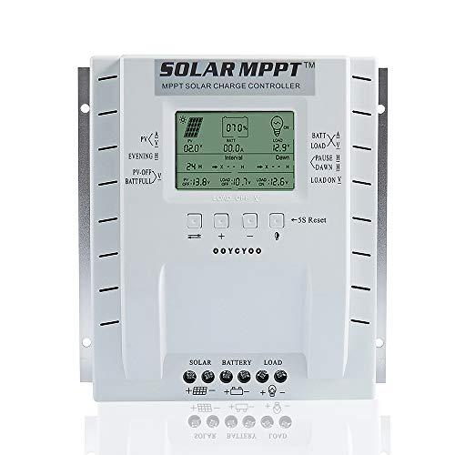 OOYCYOO 40A MPPT Laderegler 40 amp Solarpanel Laderegler 12 V/24 V Auto, Solarregler mit USB-Port Display für AGM-Gel versiegelte Batterie mit und Ladezeit-Einstellung