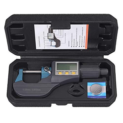 AUTOUTLET Micrometer Digitale Bügelmessschraube 0-25mm/ 0.001mm, Hohe Präzision LCD Digitale Mikrometer Mikrometerschieber Länge Messwerkzeug Mikrometer 0.001mm(0.00005')