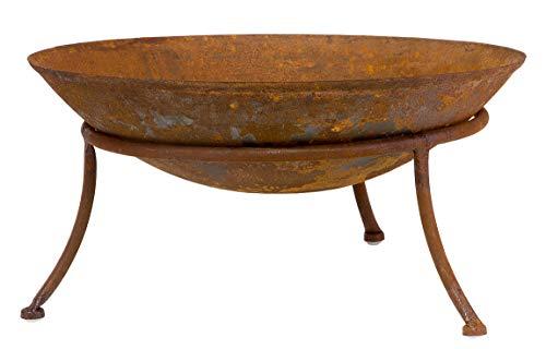 Feuerschale inkl. Dreibein 47 cm Durchmesser - Leicht & Robust aus Eisen - Grillschale für Garten & Terrasse - Dekokschale für Innen & Außen - Ideal für Grillen & Dekoration -