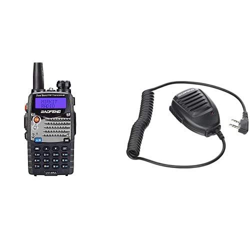 BaoFeng Uv-5Ra - Radio Walkie Talkie, Color Negro+ Original De Mano Uv-5R Altavoz-Micrã³Fono para Radio De Banda Dual