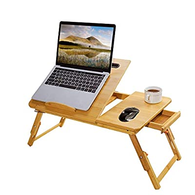 Laptop Bed Tray Multi Tasking Bamboo Lap Desk, Folding TV Tray Table, Smartphone Tablet Lap Tray for Homework Study Reading Eating Food Tray Table