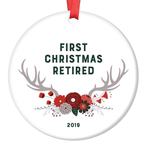 Retirement Ornament 2019 Christmas Gift First Year Retired Woman Man Teacher Nurse Collectible Dated Keepsake Party Present Pretty Woodland Boho Floral Deer Antlers Ceramic 3' Flat Circle Red Ribbon