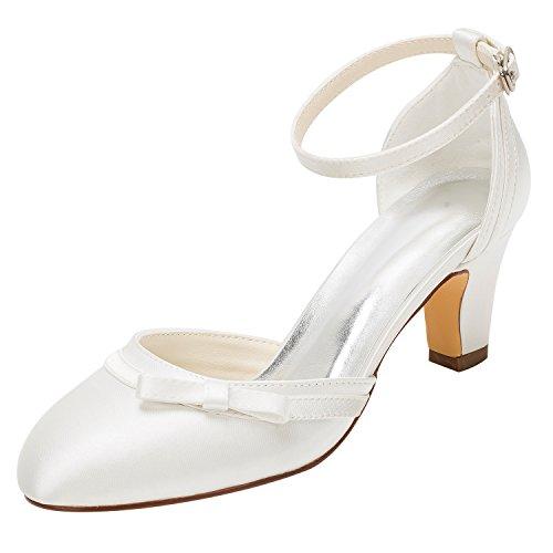 Emily Bridal Brautschuhe Elfenbein Hochzeit Schuhe High Heel Runde Knöchelriemen Bow Brautschuhe (EU36, Elfenbein)