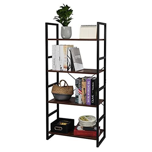 Riyyow Vintage Bookcase Shelf Storage Organizer - Wooden Bookshelf Rack with Metal Frame, for Office Kitchen Study Living Room (Size : 4 Tier)
