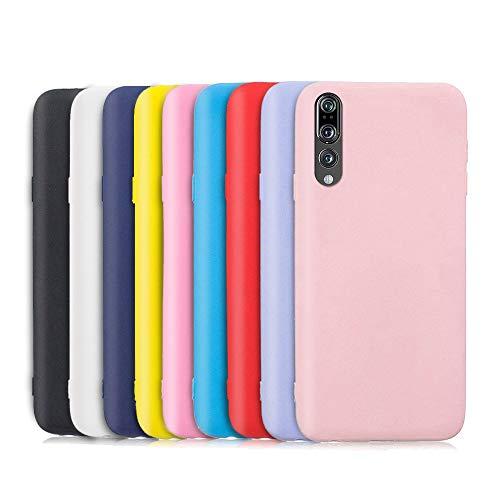 9X Compatibile con Cover Huawei P20 PRO, Ultra-Sottile Tinta Unita Silicone Morbido TPU Custodia Protettiva Anti-Urto Anti-Graffio Cellulari Protezione Paraurti Case - Nove Colore