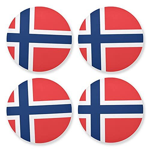 Juego de 4 posavasos redondos de madera de la bandera de Noruega, 4 piezas, posavasos para bebidas (10 cm)