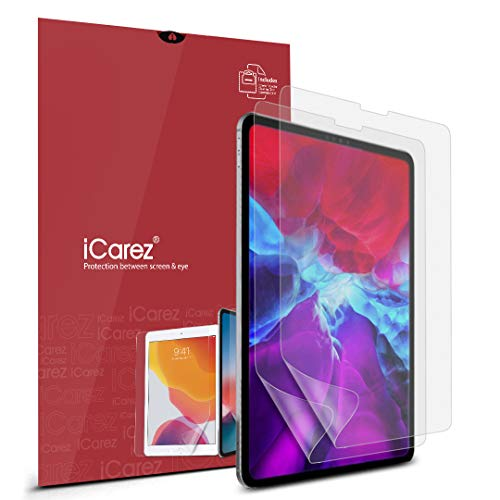 iCarez Anti-Glare Matte Screen Protector for Apple 11-inch iPad Pro 11 2018/2020/ iPad Air 4 [2-Pack] Premium PET film (Not Glass) Easy to Install (Compatible with Face ID and Apple Pencil)