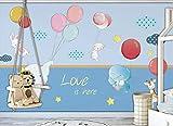 Papel Pintado de Pared Empapelado Tela de seda Pegatina Mural 3D Vuelo globo conejo elefante jirafa Decorativos Wallpaper Extraíble Impermeable Decoración de Hogar Cocina Salón Moderna TV Decor