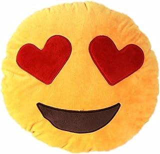 NO: 1Coussin Smiley en peluche douce avec les yeux en cœur