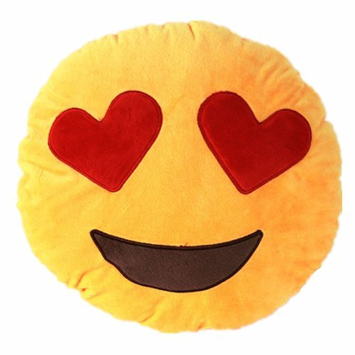 NO: 1 Coussin Smiley en peluche douce avec les yeux en cœur