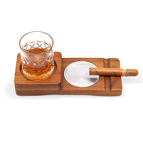 Wooden Cigar Ashtray Wood Solid Cigar Ashtray Whiskey Glass Tray and Cigar Holder, Cigar Slot/Tray, Cigar Whiskey Accessory Set, Great Gift for Men,Great Decor for Home, Office or Bar