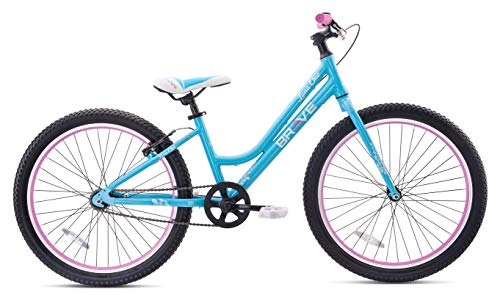 Brave Freestyle Kids 24' Girls Cruiser Bicycle, Lightweight Aluminum Frame and Fork, Easy to Ride! Premium Parts, Premium Safety, Without The Premium Price! (Blue/Pink)