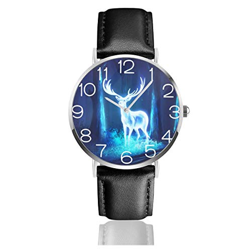 森の中の鹿 光 幻 腕時計 超薄型 軽量 ステンレス製 ブレスレット 40mm 防水 男女兼用