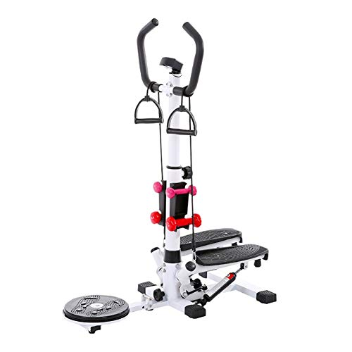 Stepper 300kg Kapazität Fitness Treppenstufen, mit Verdrehbarer Taillenplatte/Hantel/LCD-Anzeige, Kalorien Verbrennen Mini Stepper für Heimgymnastik