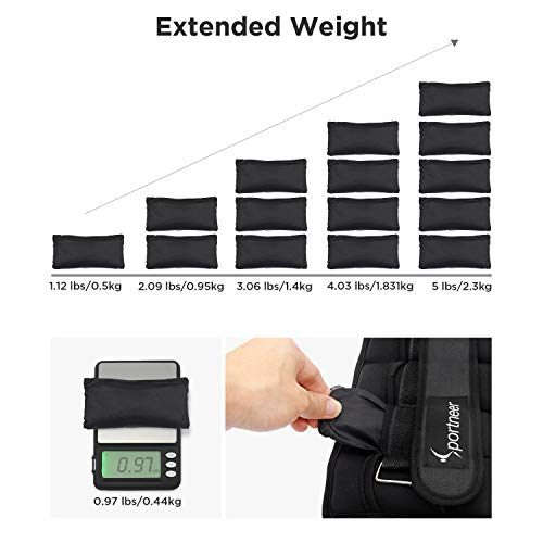 Sportneer Adjustable Ankle Weights Set, Ankle Wrist Weight Straps, 0.5Kg-2.3Kg for Per Ankle, 1Kg to 4.6Kg for a Pair, 2 Pack