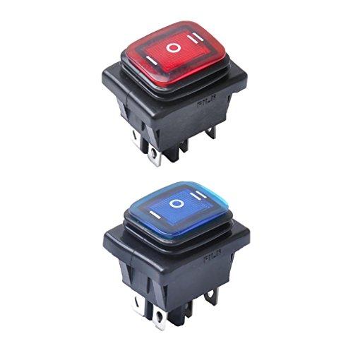 2 Unids Azul Rojo 6 Pin On/Off/On Interruptor De Encendido