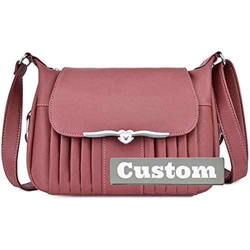 JINTD Nombre personalizado Pequeño RFID Cuero genuino Crossbody Bag Hombro Mujer Monedero con billetera (Color : Pink, Size : One size)