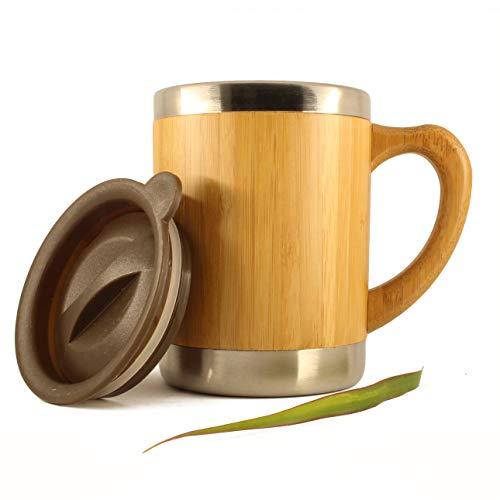 Tasse, chope 350ml en Bambou et INOX, Anse en Bois, Camping, Voyage, Travail, Couvercle pour Boire