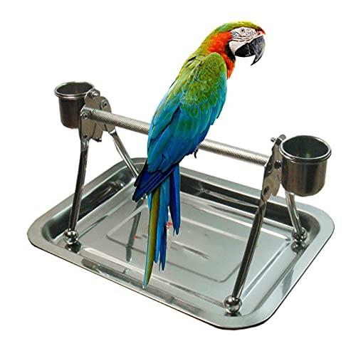 Vogelspeelgoed Roestvrijstalen huisdier vogels staan met voeding lade tafelblad voor vogels rust spelen speelgoed voor…