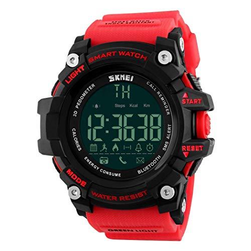 YANGSANJIN Mannen Sport Horloge Multifunctionele Militaire Waterdichte Bluetooth Ontwerp Grote Getallen Digitale LCD Scherm Casual Horloge met Stappenteller Camera Backlight Calorieën