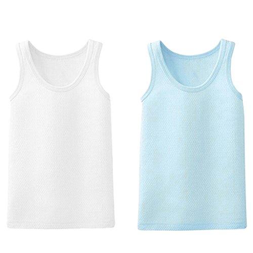 JiAmy Baby-Jungen Unterhemd, 2er Pack Unterwäsche Baumwolle Hemd ohne Arm Mesh Schlafanzug 2-3 Jahre