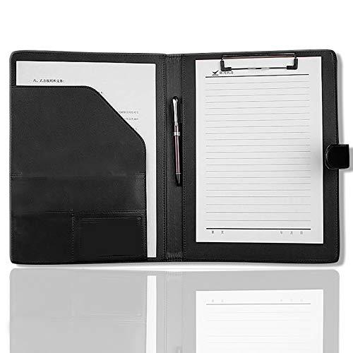Cartella Porta Documenti A4 Pelle Portablocco,Cartella Multifunzione, Cartella per Conferenze, Forniture per Ufficio per la Categorizzazione di Documenti (Nero)