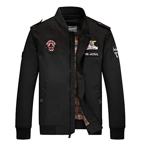 Cheerun Spmor Men's Bomber Jacket Military Jacket Men Lightweight Warm Cotton Casual Jackets Thick Stand Collar Coat Black Large