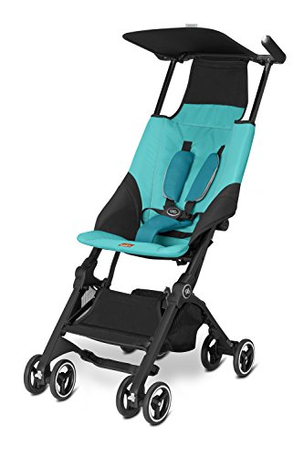 gb Pockit Ultra Compact Lightweight Travel Stroller in Capri Blue, The World's Smallest Folding Stroller
