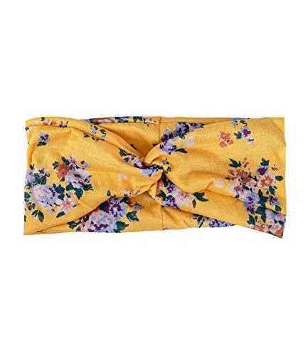YSTRDY Damen Haarschmuck, Haarband, Bandana mit Knoten in gelb mit bunten Blumen und floramen Muster (490-768)