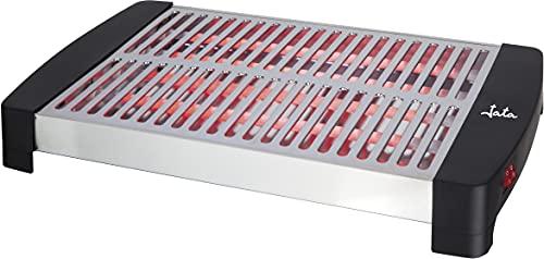 Jata TT591 - Tostador horizontal grande XXL (35 x 25 cm) con 5 barras de cuarzo, Mueble y parrilla de acero inoxidable, 3 potencias de calor, Bandeja recogemigas extraíble