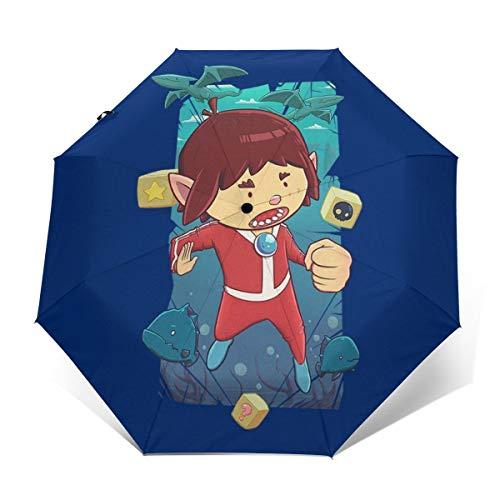 Alex Kidd in Miracle World Paraguas Plegable Compacto de Apertura y Cierre...
