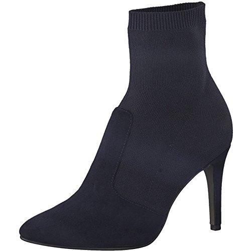 Tamaris Damen Stiefelette 25070-31,Frauen Stiefel,Boot,Halbstiefel,Damenstiefelette,Bootie,hoch,High Heel,Party,Stiletto 9cm,Navy,EU 41