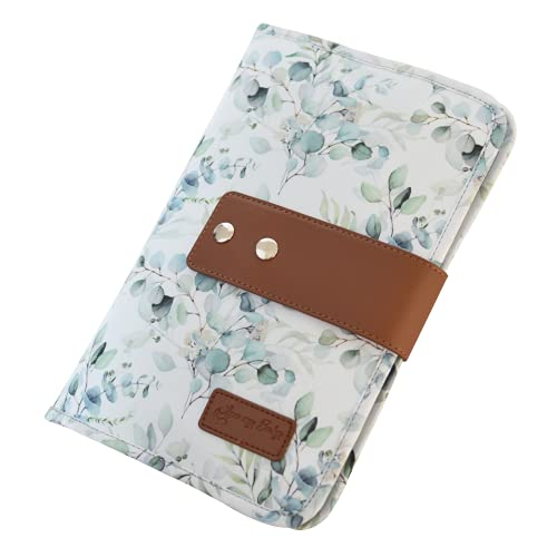 Baby Windeltasche mit Wickelunterlage - Wickeltasche für unterwegs mit viel Platz, Eukalyptus (Weiß-Mint)